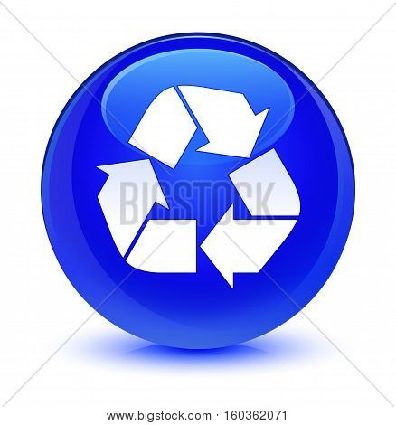 Recycle Icon Glassy Blue Round Button