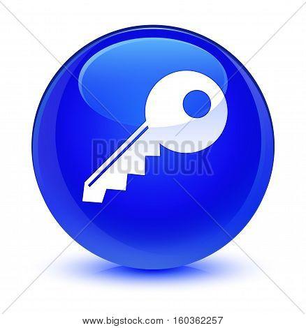 Key Icon Glassy Blue Round Button