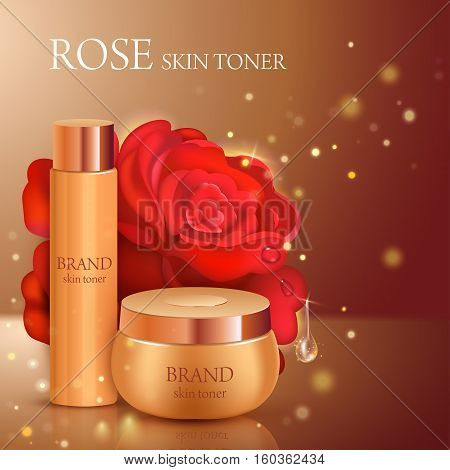 Skin toner contained in bottle and cosmetic jar with rose background. Vector illustration