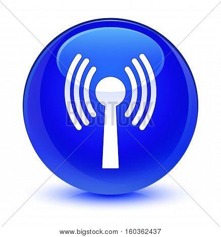 Wlan Network Icon Glassy Blue Round Button