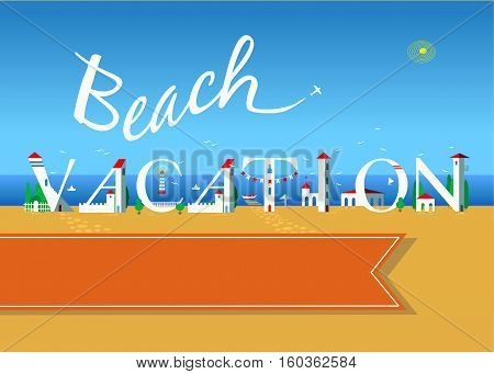 Beach vacation. Travel card. White buildings on the summer beach. Orange banner for custom text. Plane in the sky.