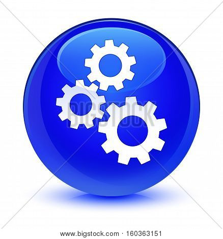 Gears Icon Glassy Blue Round Button