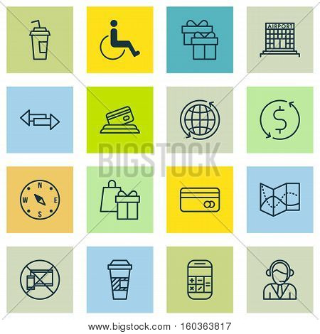 Set Of 16 Transportation Icons. Can Be Used For Web, Mobile, UI And Infographic Design. Includes Elements Such As Cup, Mobile, Airport And More.
