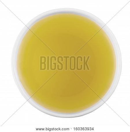 white paper cup of green tea isolated on white background top view. Disposable cup of tea over white background. Green tea