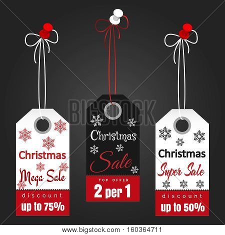 Christmas sale tags design with snowflakes on dark background. Vector illustration