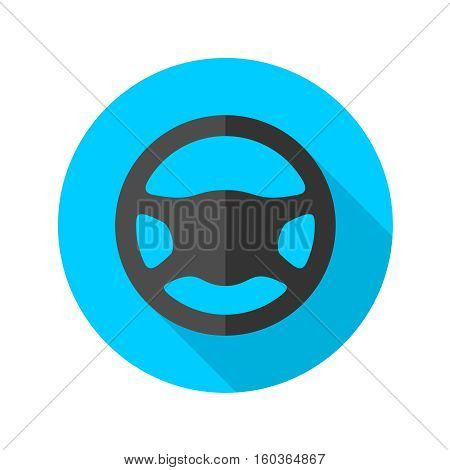 Driving wheel flat style icon. Black silhouette of car steering wheel on a blue round background.
