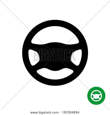 Driving wheel icon. Black silhouette of car steering wheel isolated on a white background.
