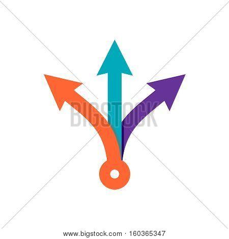 Three way direction arrows. Simple color triple arrow heads sign.