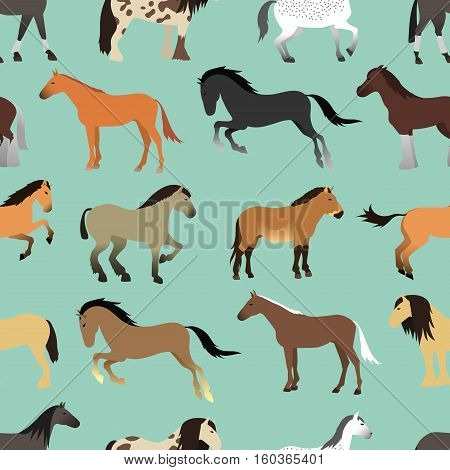 Seamless pattern with horse in flat style. Animal vector design wallpaper stallion textile. Cartoon pony drawing cute abstract race farm mare. Flat mammal hooves running sketch.