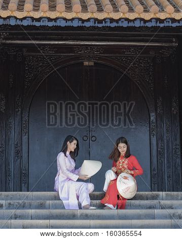 Ao dai is famous traditional costume for woman in VIetnam.