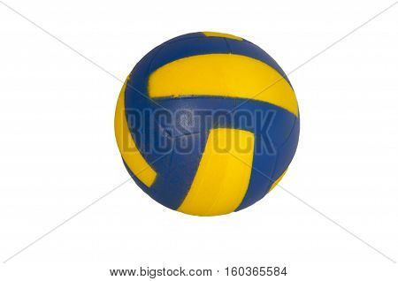 Toy soccerball of blue color with yellow strips on a white background