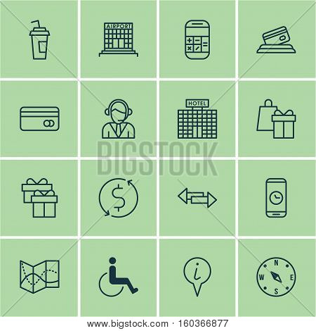 Set Of 16 Traveling Icons. Can Be Used For Web, Mobile, UI And Infographic Design. Includes Elements Such As Paralyzed, Office, Math And More.
