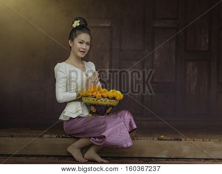 Beautiful girl in Laos costume. Lao traditional dress of a beautiful woman.