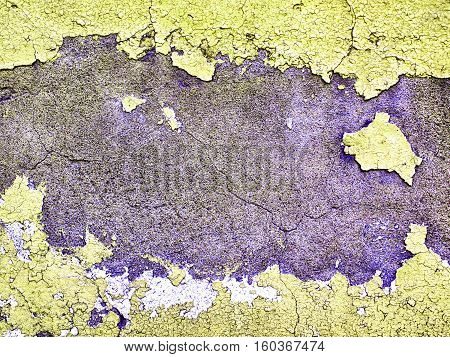 Worn And Weathered Crusted Chipped Paint On Textured Cement