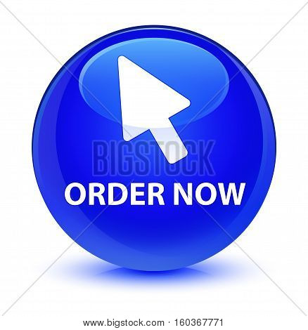 Order Now (cursor Icon) Glassy Blue Round Button