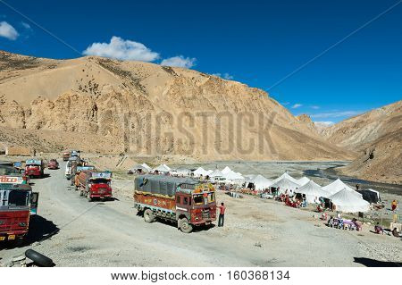 LADAKH, INDIA - SEPTEMBER 7, 2006: Rest area along a high paved road in Ladakh, India.
