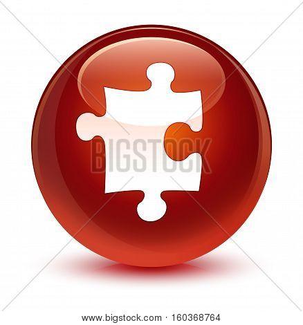 Puzzle Icon Glassy Brown Round Button