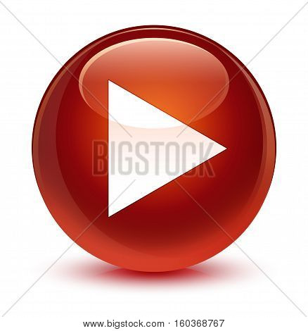 Play Icon Glassy Brown Round Button