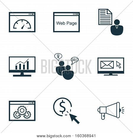 Set Of 9 Marketing Icons. Can Be Used For Web, Mobile, UI And Infographic Design. Includes Elements Such As Brief, Optimization, Research And More.