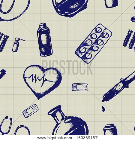 Healthcare and medicine. Vector doodle seamless pattern with thermometer, heart, pipette, stethoscope and pills. Medical hand drawn icons on checkered background.