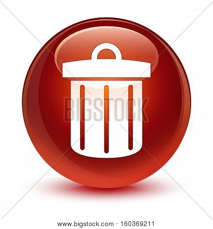 Recycle Bin Icon Glassy Brown Round Button