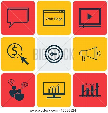 Set Of 9 Advertising Icons. Can Be Used For Web, Mobile, UI And Infographic Design. Includes Elements Such As Dynamics, SEO, Video And More.