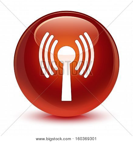 Wlan Network Icon Glassy Brown Round Button
