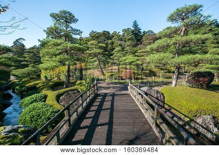 Japanese bridge in botanical garden at Japan