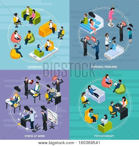 Depression isometric concept with stressful emotional situations and treatment of illness isolated vector illustration