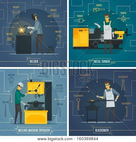 Blacksmith metalworking 4 flat icons square composition with infographic elements of melting welding turning process isolated vector illustration