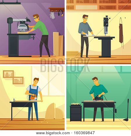 Woodworking carpentry services 4 flat icons composition poster with cutting grinding and polishing work isolated vector illustration