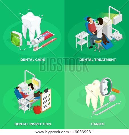 Stomatology isometric concept with dentist healthy and ill tooth medical checkup instruments on green background isolated vetor illustration