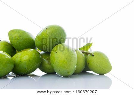 Close Up Mangifera Mango On White