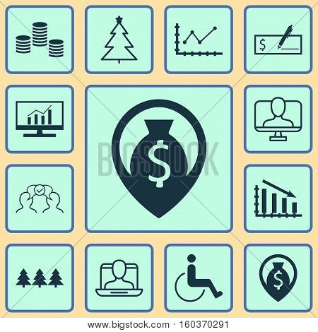 Set Of 12 Universal Editable Icons. Can Be Used For Web, Mobile And App Design. Includes Elements Such As Fail Graph, Accessibility, Cooperation And More.