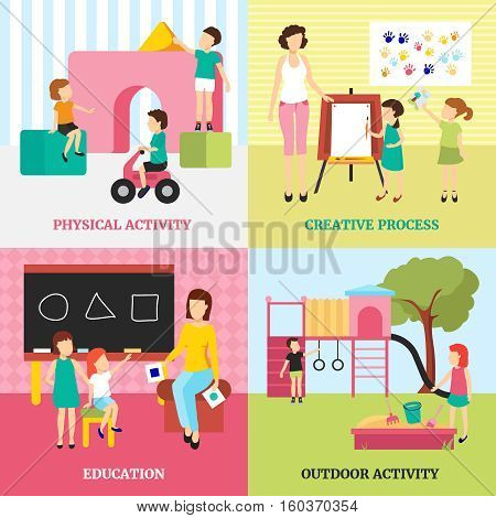 Kindergarten concept icons set with outdoor activities and education symbols flat isolated vector illustration
