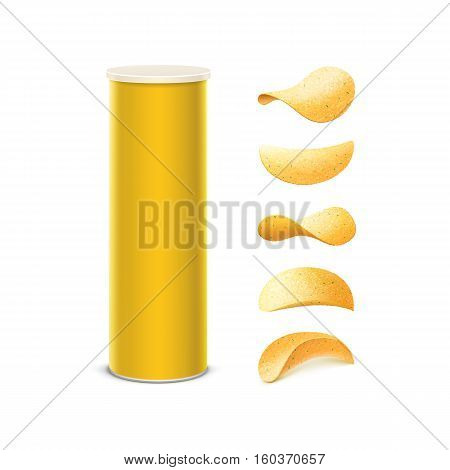 Vector Set of Yellow Tin Box Container Tube for Package Design with Potato Crispy Chips of Different Shapes Close up Isolated on White Background