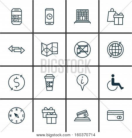 Set Of 16 Travel Icons. Can Be Used For Web, Mobile, UI And Infographic Design. Includes Elements Such As Coffee, Present, Transfer And More.