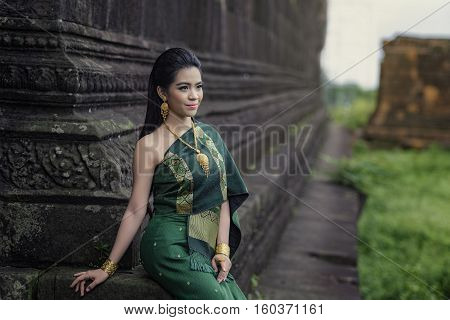Yong woman of dress in castle buddhism Pakse Laos