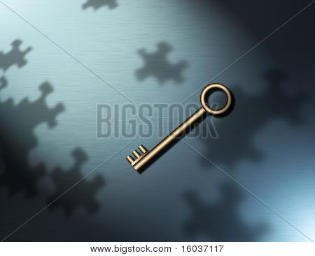 A key and puzzle piece shadows