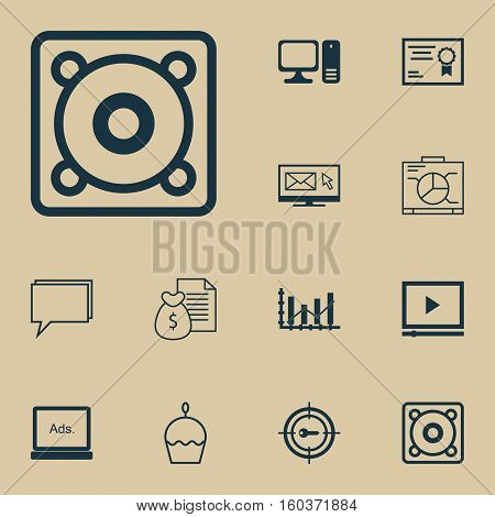 Set Of 12 Universal Editable Icons. Can Be Used For Web, Mobile And App Design. Includes Elements Such As Certificate, Desktop Computer, Birthday Cake And More.