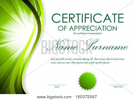 Certificate of appreciation template with green dynamic bright wavy vortex background and seal. Vector illustration