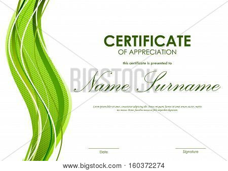 Certificate of appreciation template with green dynamic bright wavy textured background. Vector illustration