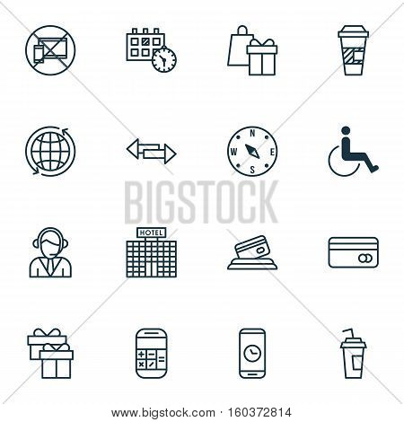 Set Of 16 Traveling Icons. Can Be Used For Web, Mobile, UI And Infographic Design. Includes Elements Such As Accessibility, Holiday, Card And More.