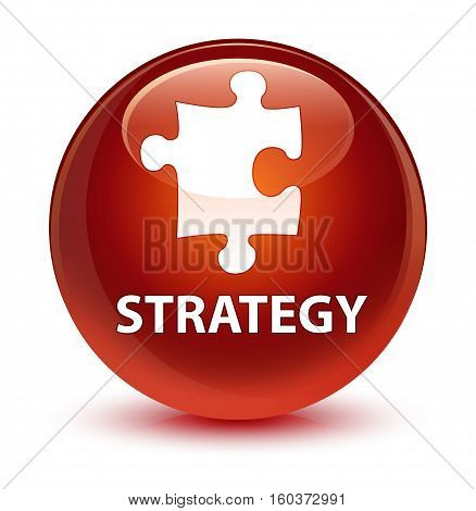 Strategy (puzzle Icon) Glassy Brown Round Button