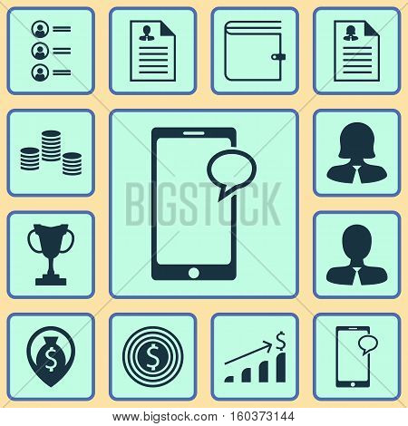 Set Of 12 Human Resources Icons. Can Be Used For Web, Mobile, UI And Infographic Design. Includes Elements Such As Male, Job, Success And More.
