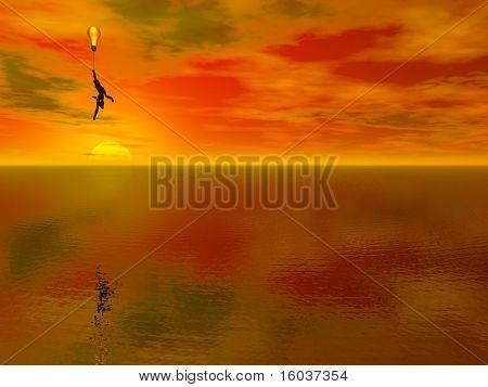 A figure floats above a fantastic landscape