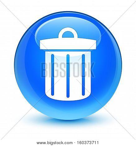 Recycle Bin Icon Glassy Cyan Blue Round Button