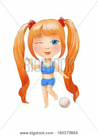 Cartoon little girl illustration. Chibi drawing. Anime children isolated. Cute girl with long pigtails in sportswear with ball. Character winks.
