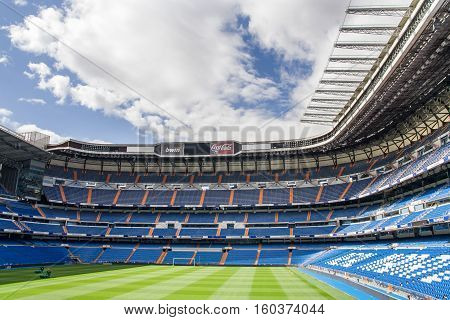 MADRID SPAIN - MAY 14: Santiago Bernabeu Stadium of Real Madrid on May 14 2009 in Madrid Spain. Real Madrid C.F. was established in 1902. It is the best club of XX century.