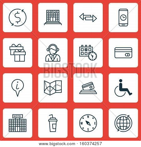 Set Of 16 Travel Icons. Can Be Used For Web, Mobile, UI And Infographic Design. Includes Elements Such As Call, Paper, Office And More.